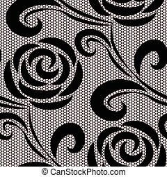 Seamless retro roses lace pattern on pink background