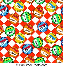 Seamless retro soda bottle caps pattern vector on red and white checkered background.