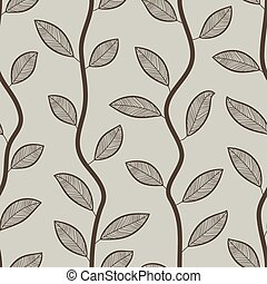 Seamless retro styled brown leaves vector wallpaper pattern.