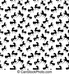 Seamless retro texture with horses