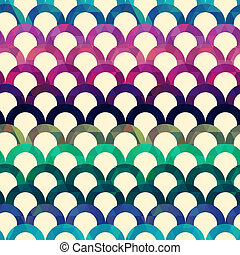 seamless retro vector background - seamless retro scallop...