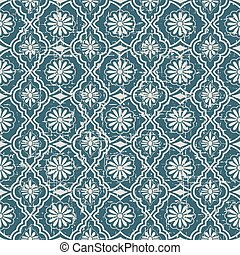 Seamless retro worn out background flower geometry