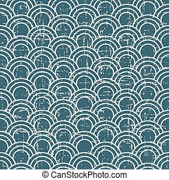 Seamless retro worn out background oriental fish scale curve line