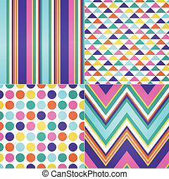 seamless retro zig zag, circle dots and stripes background