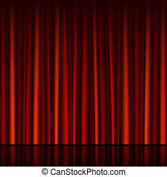 seamless, rideau rouge, à, étape