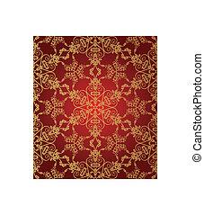 seamless, rood, en, goud, sneeuwvlokpatroon