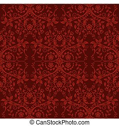 seamless, rood, floral, behang