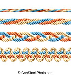 Seamless rope elements - Vector illustration of seamless...