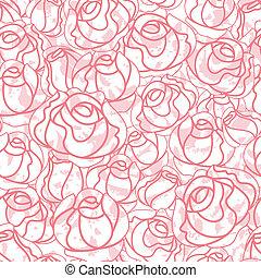 seamless, rosas, padrão, fundo