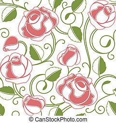 seamless, rosas, patrón
