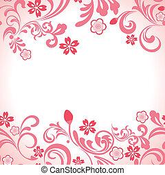 seamless, rose, fleur cerise, cadre