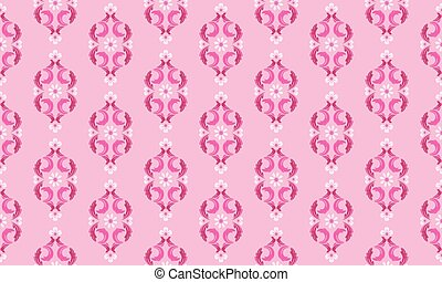 Seamless rose floral pattern, color magenta and soft pink.
