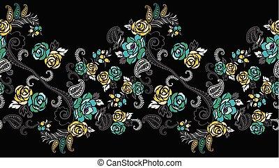 Seamless rose flower border design