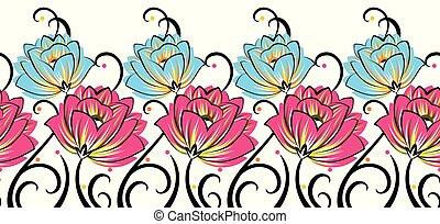 Seamless rose flower border