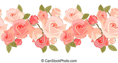 Seamless light horizontal romantic pattern with pink roses