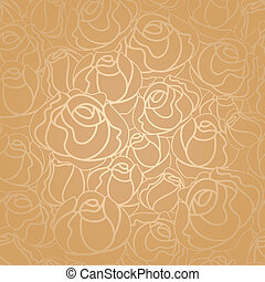 Seamless roses pattern, gold