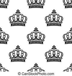 Seamless royal crowns pattern background