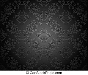 Seamless royal dark damask wallpaper