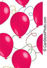seamless, roze, ballon, achtergrond