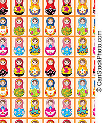 seamless Russian dolls pattern