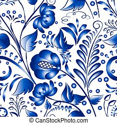 Seamless russian gzhel patterns on a white background