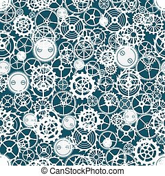 Seamless rusty cogwheel pattern. Factory background