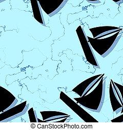 Seamless sailing boat pattern on blue