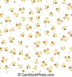 Seamless Saint Patricks Day pattern. Golden clover leaves on a white background. Realistic vector illustration, traditional folk holiday symbols or festive decorations, .