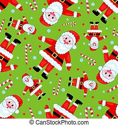 Seamless santas pattern on the green.
