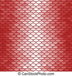 Seamless scale pattern. Abstract roof tiles background. Red squama texture