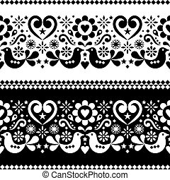 Seamless Scandinavian folk art vector pattern with birds, hearts and flowers in black and white
