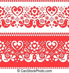 Seamless Scandinavian folk art vector pattern with birds, hearts and flowers in red and white