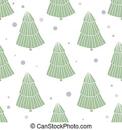 Seamless scandinavian style pattern with green trees