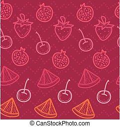 seamless, scarabocchiare, fondo, frutte rosse