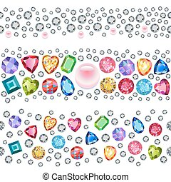 Seamless scattered gems, rhinestones isolated on white...