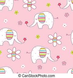 seamless, schattig, bloemen, model, olifanten