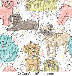 seamless, schattig, honden, model