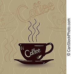 seamless, schets, van, een, kop van hete koffie, en, stoom