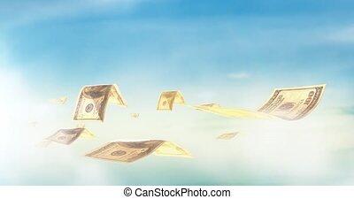 seamless, schleife, realistisch, animation, von, geld., wirtschaftlich, finanz, begriff