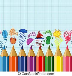 Seamless school border - Seamless horizontal school border