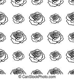seamless, schwarz, rosen, muster