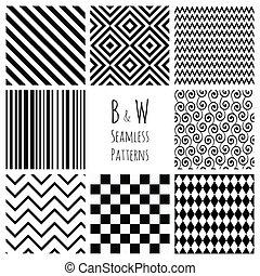 seamless, schwarz weiß, geometrisch, hintergrund, set.