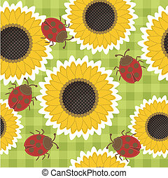 seamless scrapbook background with sunflowers and ladybirds