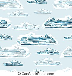 Seamless sea hand drawn pattern with ships