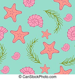 Seamless sea pattern. Blue green background