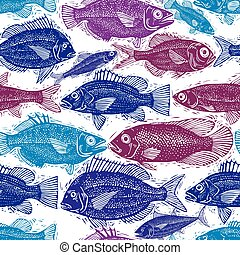 Seamless sea pattern, different fish silhouettes. Vector hand drawn fauna wallpaper, aqua nature continuous background.