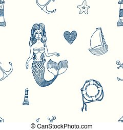 Seamless sea pattern. Vector illustration