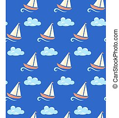 Seamless sea pattern. Yacht on wave and cloud on blue background