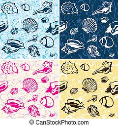 seamless seashell background, marin