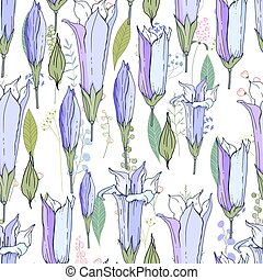 Seamless season pattern with blue bells. Endless texture for...